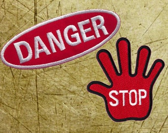 Danger Patch Hand sign Patch Patches Iron On Patch Set Appliques Embroidered Patches