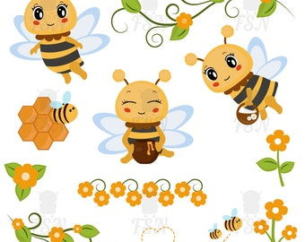 Honey bee digital clipart, Honey bee Clip Art, design elements, Digital Clipart, Digital Images, bee Digital Clip Art, Honey bee graphics