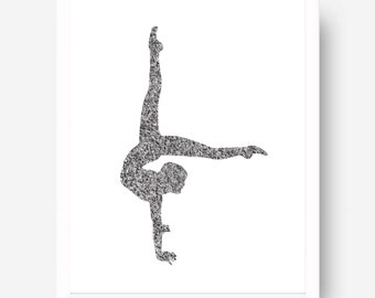 Contortion Print 01 - Contortionist Art - Black & White Cirque - Cirque Poster - Circus Art Print - Circus Illustration - Contortion Drawing