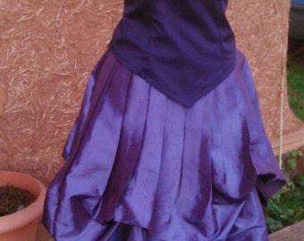 pleine longueur puple drapé fantaisie de taffetas jupe médiévale steampunk rétro goth