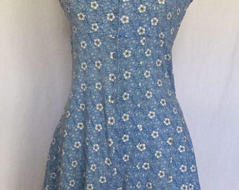 90s Romper Light Blue with White Flower and Leaf Detail. Knit Cotton. Very Soft. No Boundaries. Size L