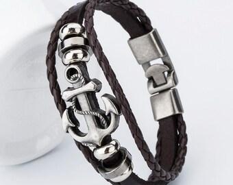 Womens charm bracelet, Womens braided bracelet, Leather bracelet, Brown braided leather bracelet, Cheap bracelet, Cute charming bracelet