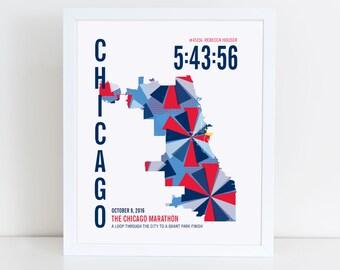 Chicago Marathoner Map Print