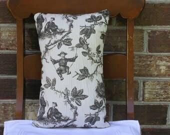 Black and White Toile Pillow