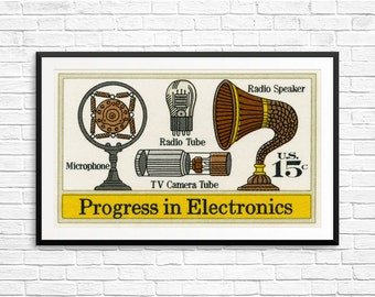 Wall art: radio history, television history, electronics, radio tubes, tv tubes, vintage microphone, vintage electronics, tech history art