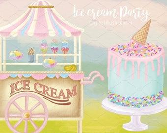 Watercolor Ice Cream Cart,Ice cream cone, Ice cream Van Clipart Images