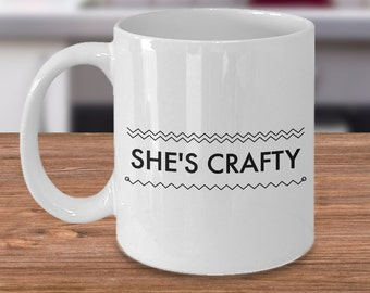 She's Crafty Mug Ceramic Coffee Cup is a Cute Crafter Gift - 11 oz.