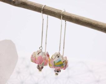 Origami lotus pink Japanese flower earrings