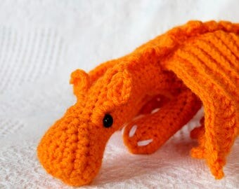 Amigurumi Dragon Plush, orange crocheted dragon, kawaii, magic, stuffed animal