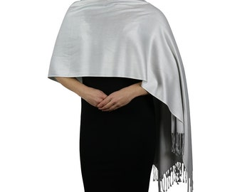 Silver Ladies Scarf Wrap Shawl - Tassel Finishing - Handmade
