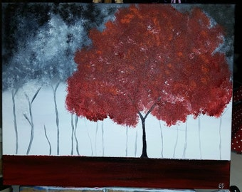 PRICE REDUCED** Red Tree Stormy Day Art Acrylic Painting Home Office Decor 16X20 Canvas