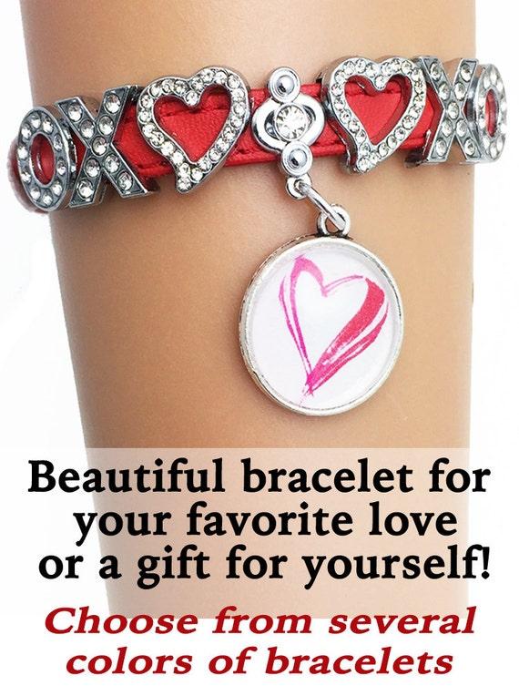 Valentine Rhinestone & Heart Bracelet **FREE U.S. SHIPPING**
