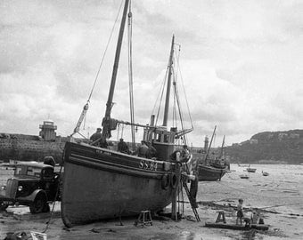 St Ives Harbour 1950s taken from a negative in my collection