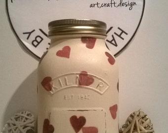 Handmade chalk painted (kilner)Mason Jar