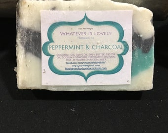 Activated Charcoal and Peppermint Bar Soap 4 oz essential Oils Aromatherapy