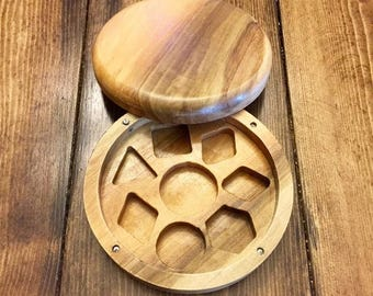 Tulip Wood Polyhedral Dice Box for Dungeons and Dragons (DnD) or Pathfinder RPGs