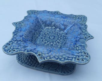 blue pottery earring holder / jewelry bowl - handmade and imprinted with lace