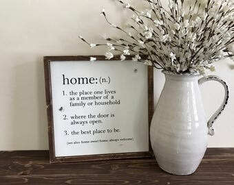 Home Sign | Dictionary Sign | Farmhouse | Shabby Chic | Fixer Upper Style | Welcome