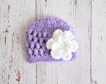 Newborn baby girl hat, newborn girl hat, newborn girl beanie, baby girl beanie,purple crochet hat, purple beanie, newborn flower beanie