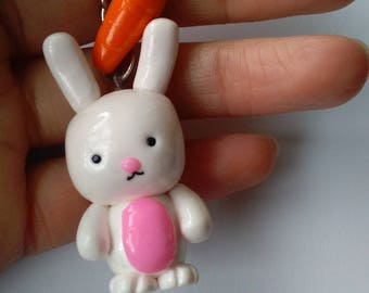 Polymer clay white bunny with carrot, Keychain, Gift, Handmade