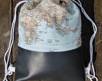 gym bag - backpack - world map - fake leather