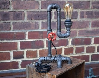 Red Faucet Industrial Table Lamp - Desk Lamp - Steampunk Design - handmade lighting