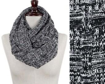 Tweed Yarn Tiles Knitted Infinity Scarf