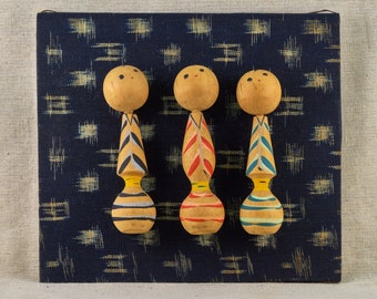 Wooden Kokeshi dolls, home wall decoration. Vintage, Japanese Kokeshi figurines.
