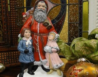 Old World Santa with Boy and Girl, Hand Painted Ceramic