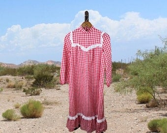 Red Gingham Dress, Full Length Vintage Dress,  1950s Prairie Dress, Frontier Costume Dress, Small to Medium