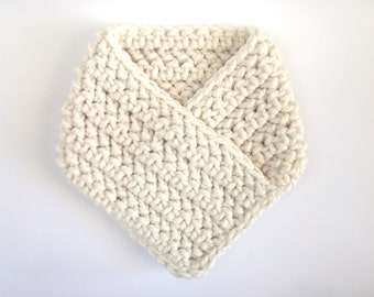 Chunky Neck Warmer / Winter Chunky Cowl / Bandana Cowl / Chunky Knit Cowl / Crochet Bandana Neck Warmer