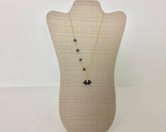 Amethyst  necklace, Amethyst with gold filled necklace, gold filled amethyst necklace, lariat necklace, amethyst pendant
