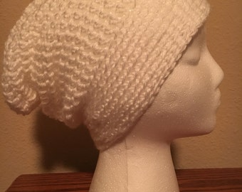 Hand made crocheted slouchy beanie