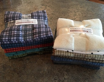 Maywood Woolies Flannel 10 Fat Quarter Bundle - Assortment - 2 Bundles To Choose From - By Bonnie Sullivan for Maywood Studio