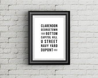 Washington DC Neighborhoods Poster, City Poster, Typography Art, Subway Sign, Wall Art Decor, Digital Print, DC Printable Poster