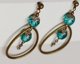 Earrings blue beads, silver massive and bronze