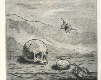 "Original etching ""time"" ""Memento mori"""