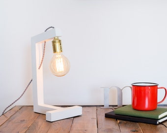 Wood lamp, edison lamp, handmade, table lamp, design lamp, desk lamp. Pisa White Globo Lamp by Belight Barcelona
