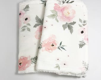 Floral Burp Cloths - Baby Burp Cloth - Baby Girl Burp Cloth - Burp Cloth Set - Watercolor floral - Pink Roses - Pink Flowers - Blush Roses