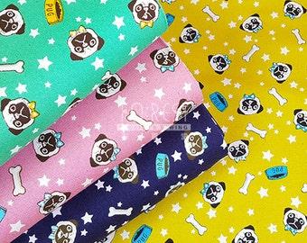Cosmo Oxford kawaii pug dog fabric