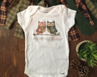 Owl always love you onesie® - beatles onesie® - beatles baby - owl onesie® - owl baby clothes - all you need is love - woodland baby outfit