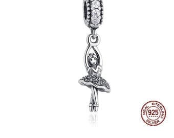Ballerina Charm, 100% Real 925 Sterling Silver, Fits Pandora, Famous European Snake Chain Bracelets, DIY Jewelry