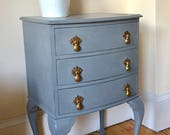 Vintage Set of Drawers  Upcycled Drawers  Painted Furniture  Grey Furniture  Occasional Table  Handpainted Furniture  Bedside Table