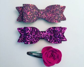 pink Bow, Pink Glitter Bow, Pink, Hair Bow, Gold Bow, Girls Hair Accessories, Girls hair bows, Hair Clip