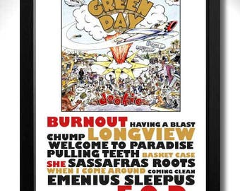 GREEN DAY Dookie Album Limited Edition Unframed A4 Art Print Mini Poster with Song Titles