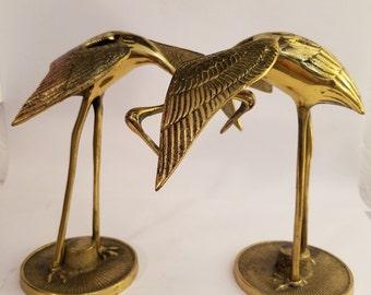 Vintage Solid Brass Cranes - Set of 2