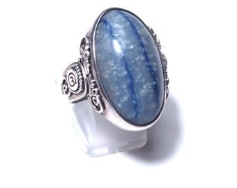 Blue agate and silver ring