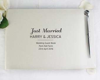 Beautiful Personalised Classic Guest Book & Pen Wedding Guestbook 30 Pages