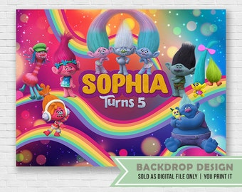 Trolls Birthday Backdrop // DIGITAL FILE Only //