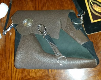 Leather Purse Handmade Black and Brown